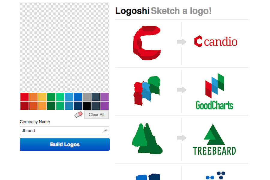 Logoshi's simple user interface for making logos.