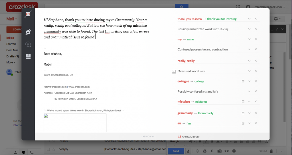 Grammarly Review Google Mail plugin before corrections
