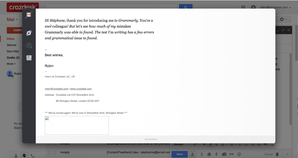 Grammarly Review Google Mail plugin after corrections