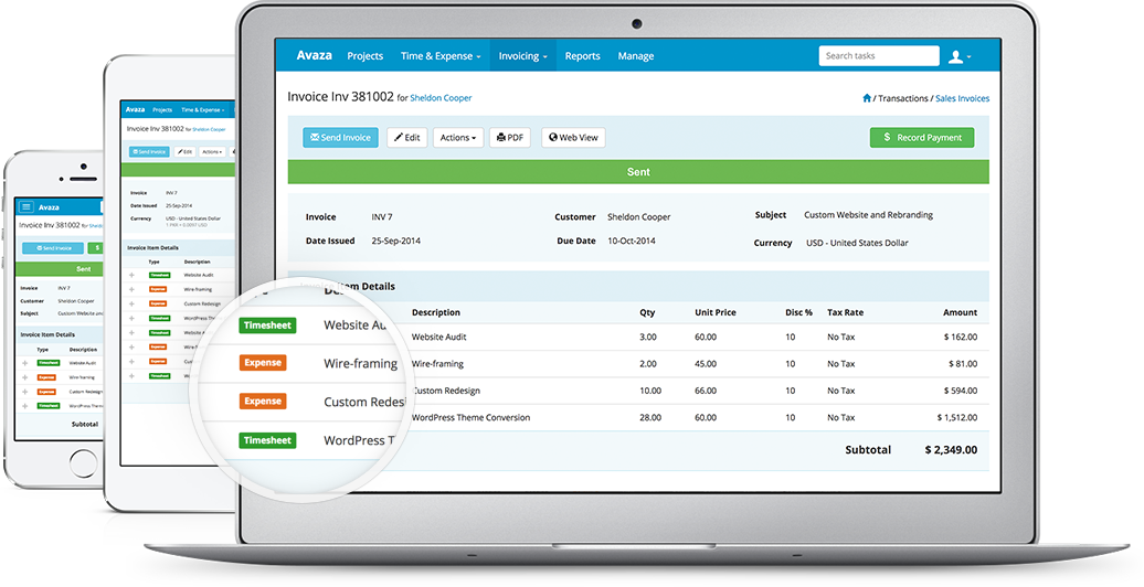 Timesheets And Invoices For Teams With Avaza - Project management software with invoicing