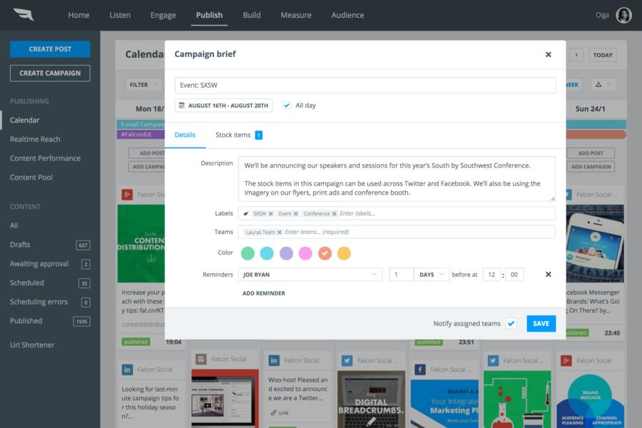 Social Media SaaS tool - Falcon.io