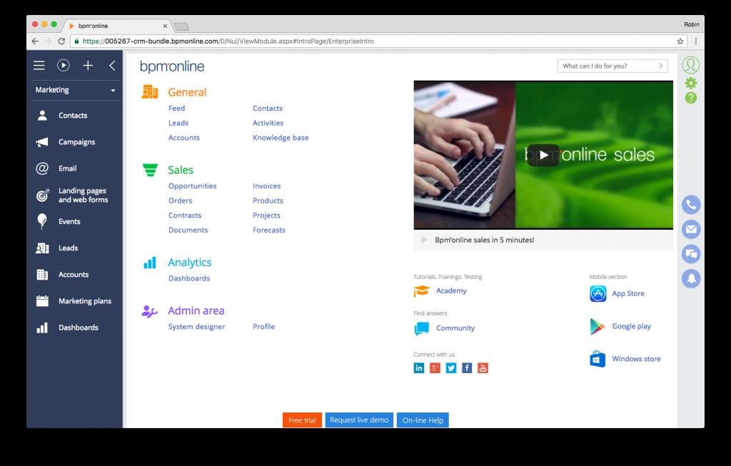 Screenshot bpm'online CRM suite - general dashboard