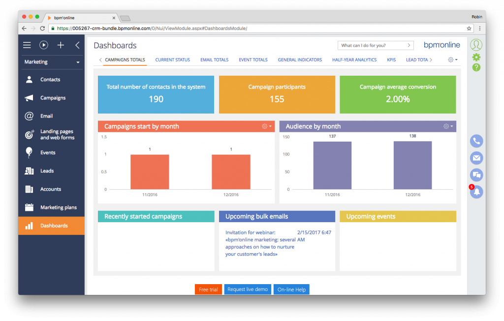Screenshot bpm'online CRM suite - marketing dashboard