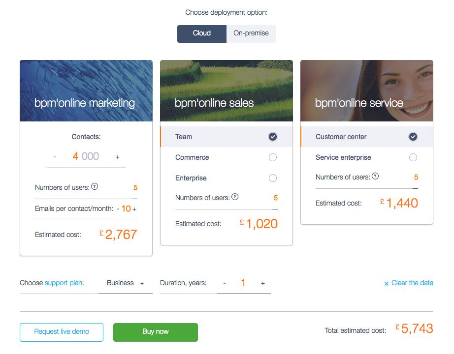 Screenshot bpm'online CRM suite - pricing calculator