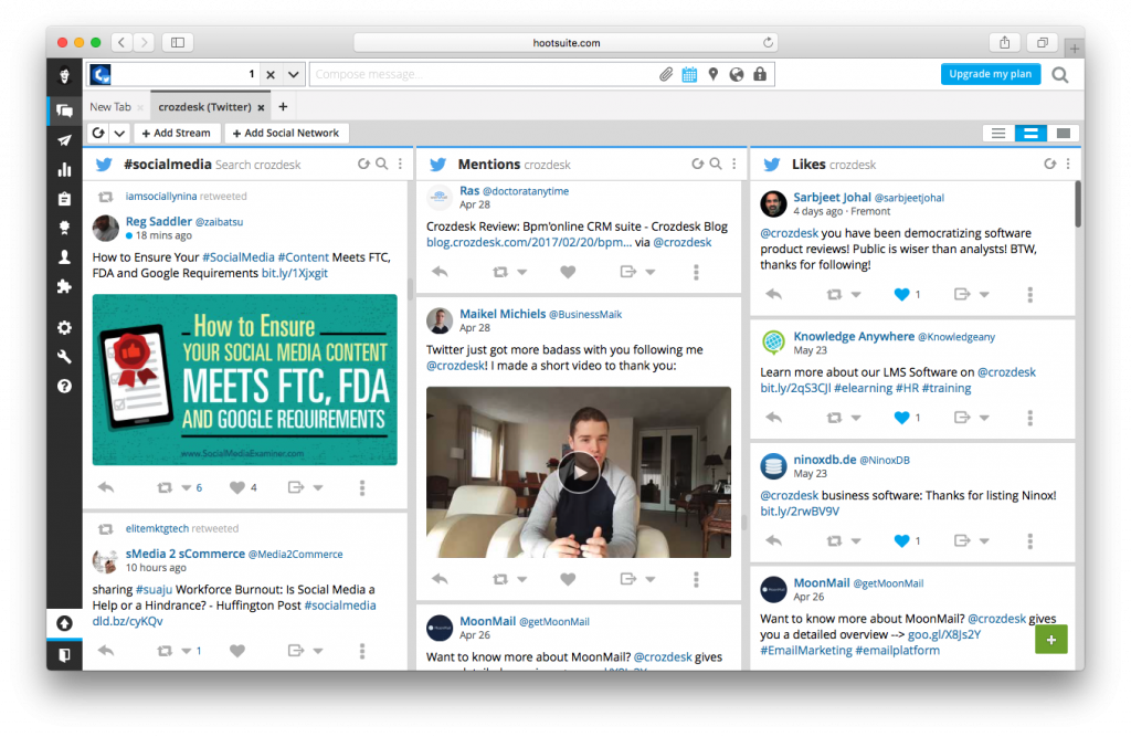 social media management network stream hootsuite dashboard screenshot crozdesk twitter