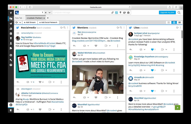 social news desk dashboard