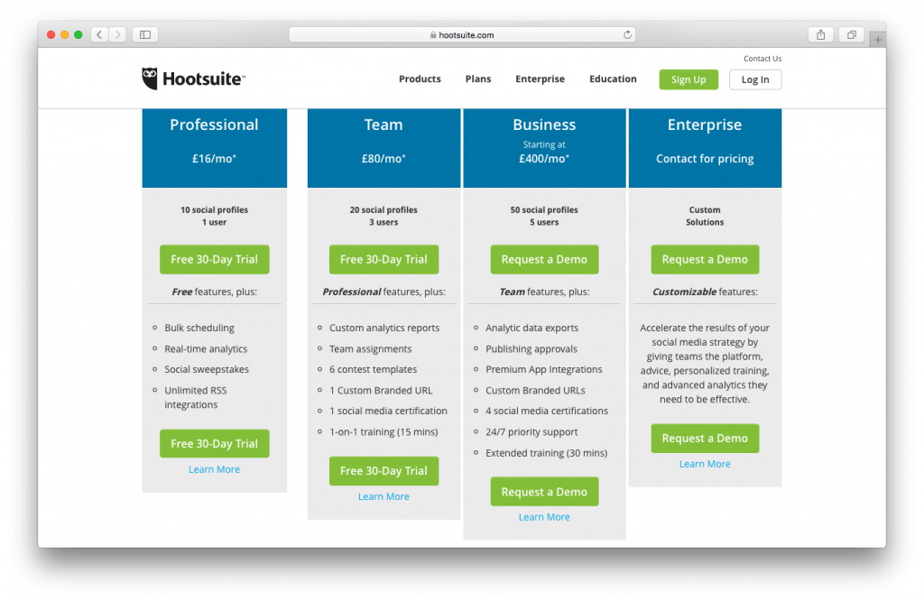 hootsuite pricing packages screenshot