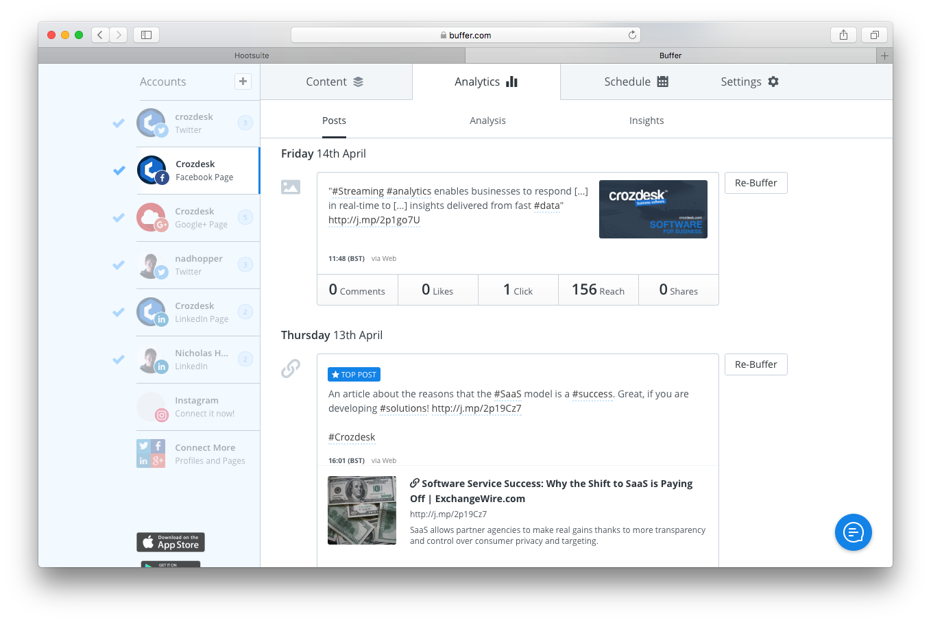 buffer social media dashboard analytics screenshot