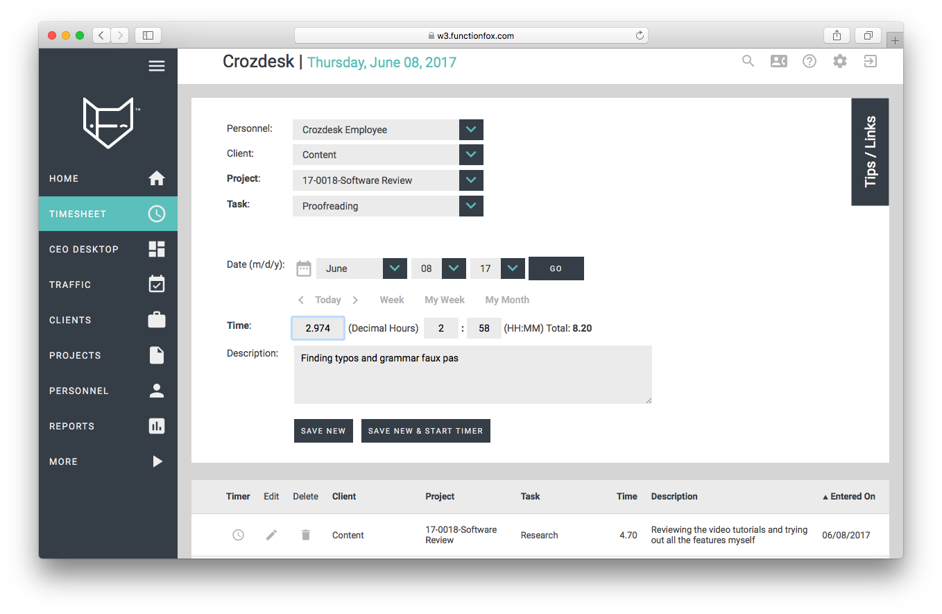 functionfox timesheet screenshot dashboard