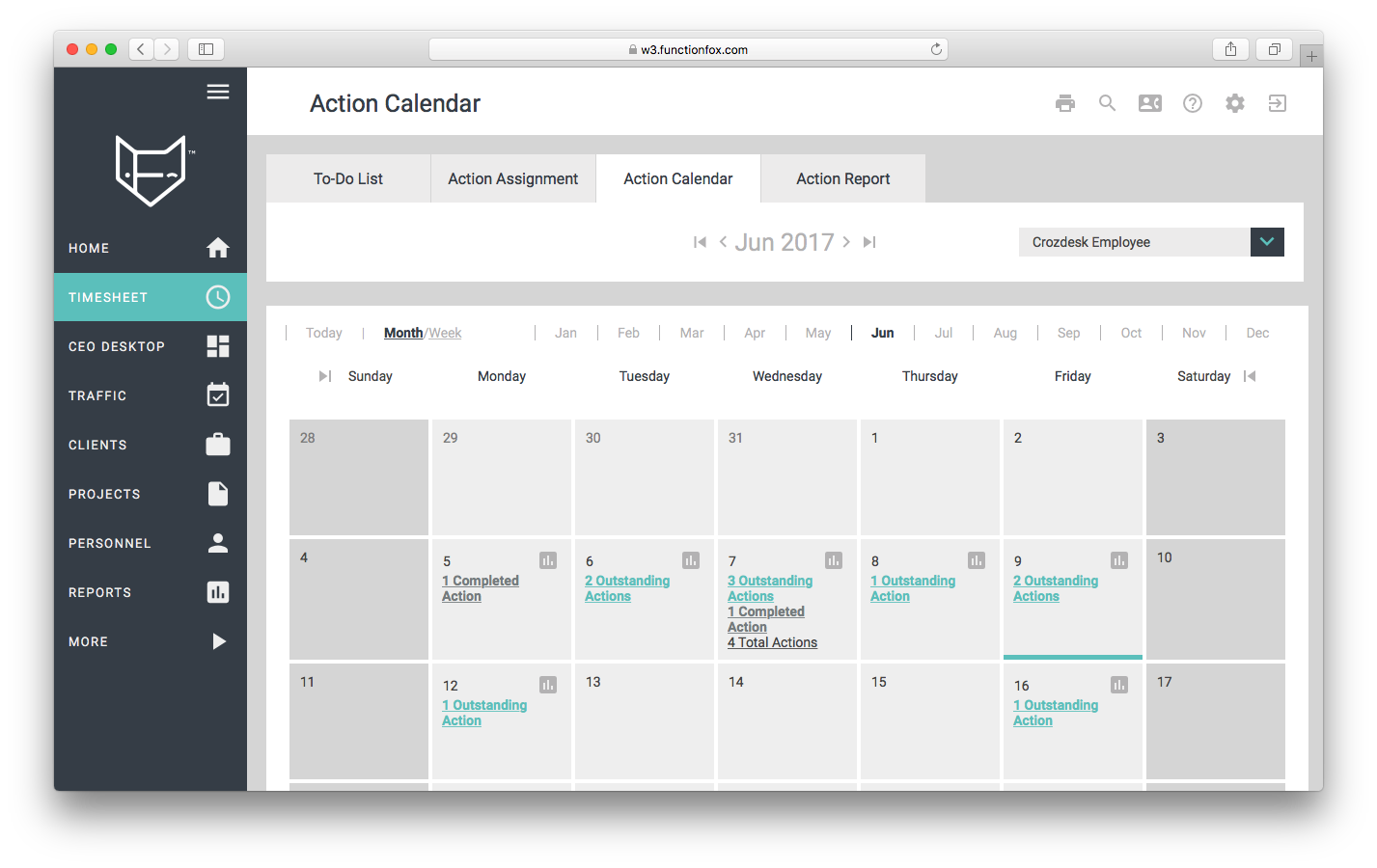 functionfox timesheet screenshot dashboard interface crozdesk action calendar