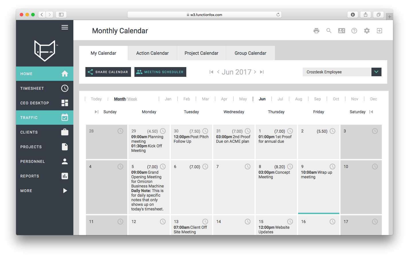 functionfox timesheet screenshot dashboard interface crozdesk calendar monthly
