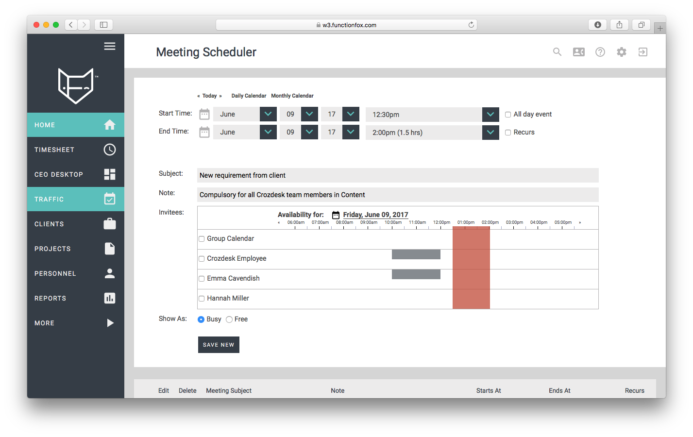 functionfox timesheet screenshot dashboard interface crozdesk meeting scheduler