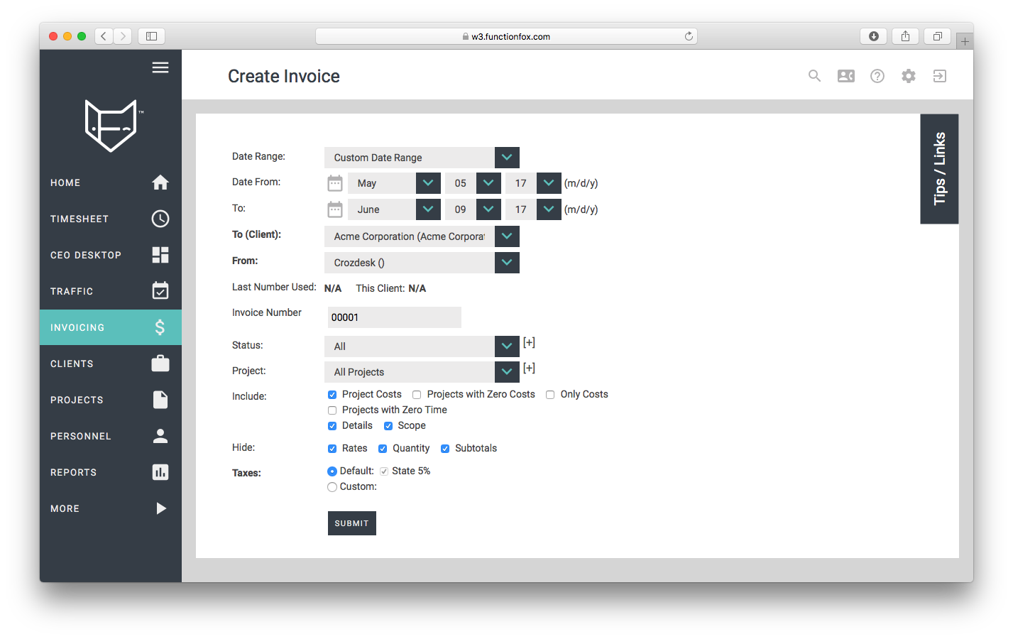 functionfox timesheet screenshot dashboard interface crozdesk invoicing