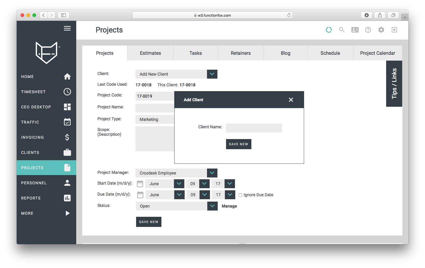 functionfox timesheet project management