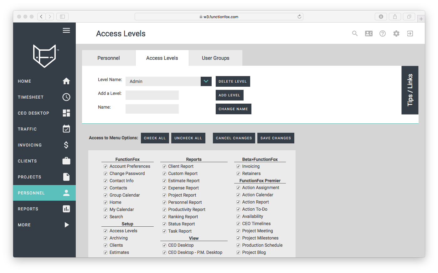 functionfox timesheet screenshot dashboard interface crozdesk access levels user management personnel