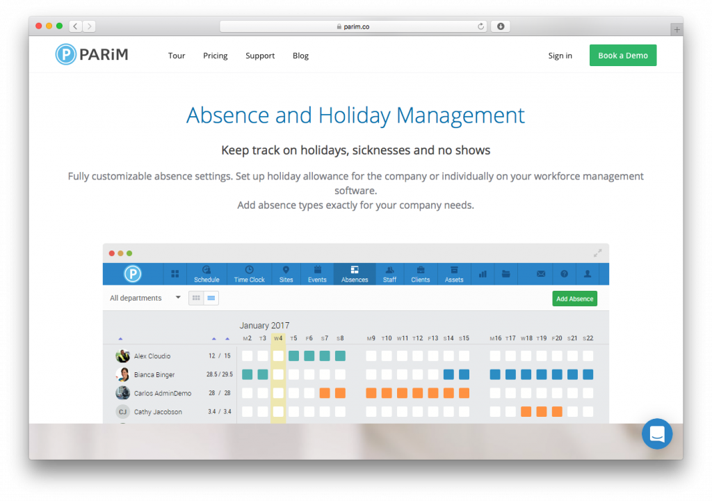 PARiM Workforce Management Software - Absence and Holiday Management screenshot