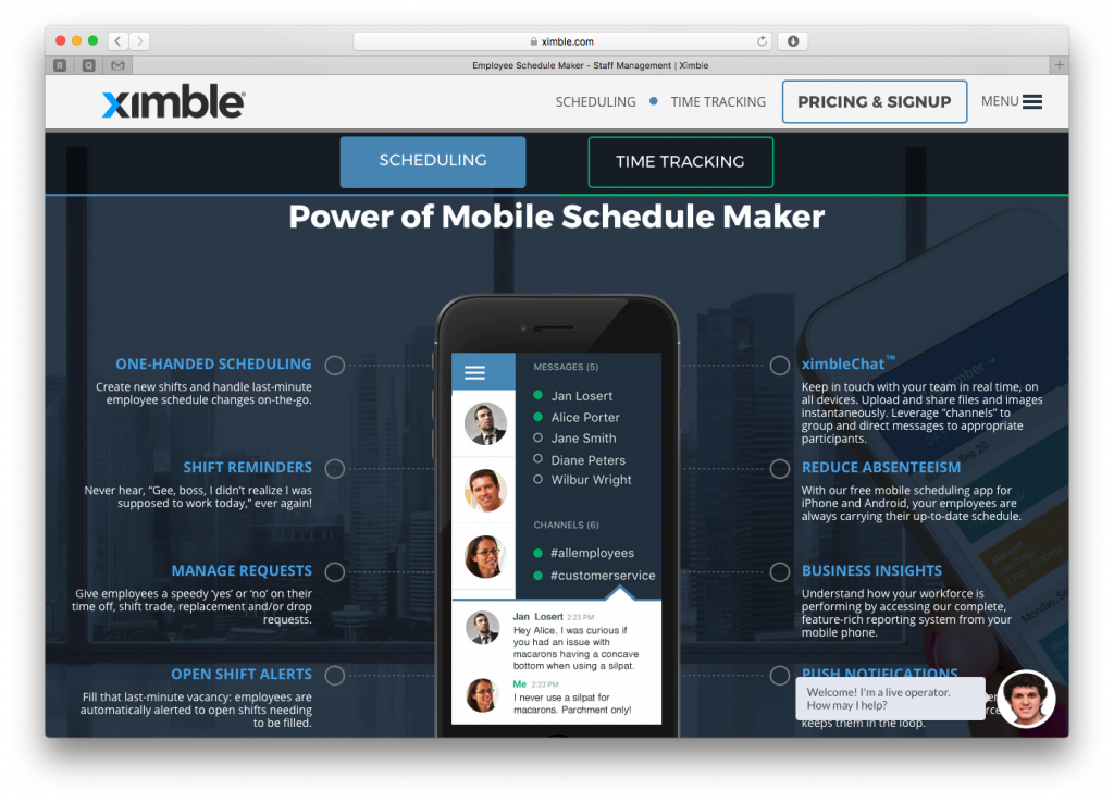 Ximble Schedule Builder and Time Clock - mobile-schedule-maker-screenshot