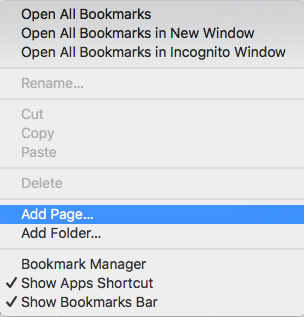 add page chrome bookmark