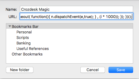 easy access script bookmark