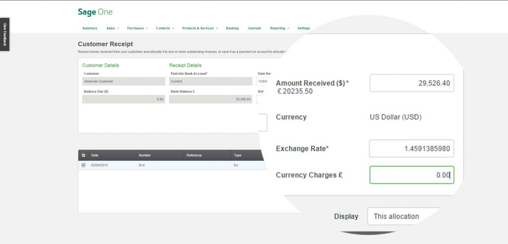 sageone bank reconciliation screenshot