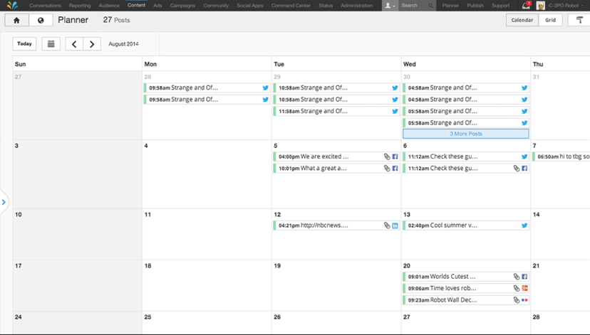 sprinklr planner screenshot