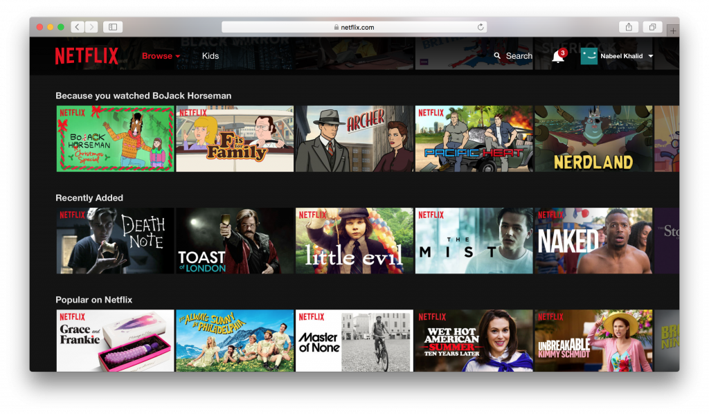Netflix suggestions Bojack Horseman
