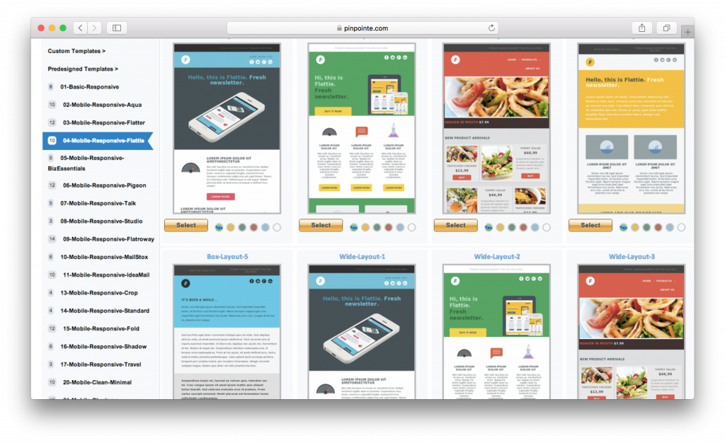 Pinpointe email templates system screenshot