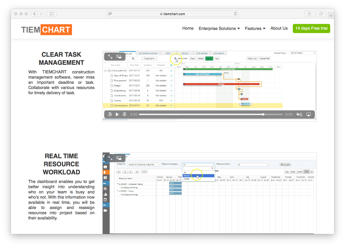Clear Task Management and Real Time Resource Workload for TIEMCHART screenshot