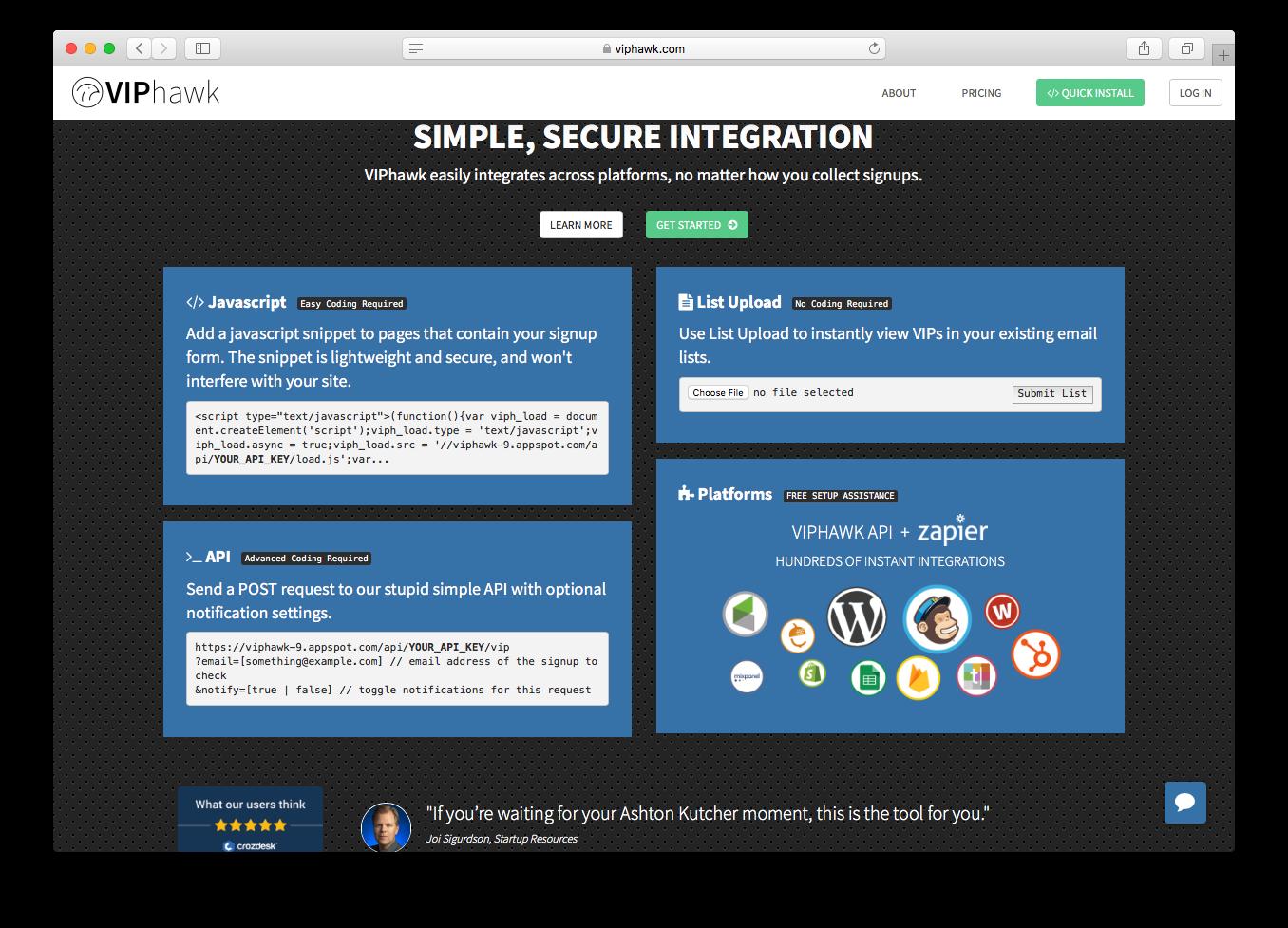 VIPhawk screenshot homepage