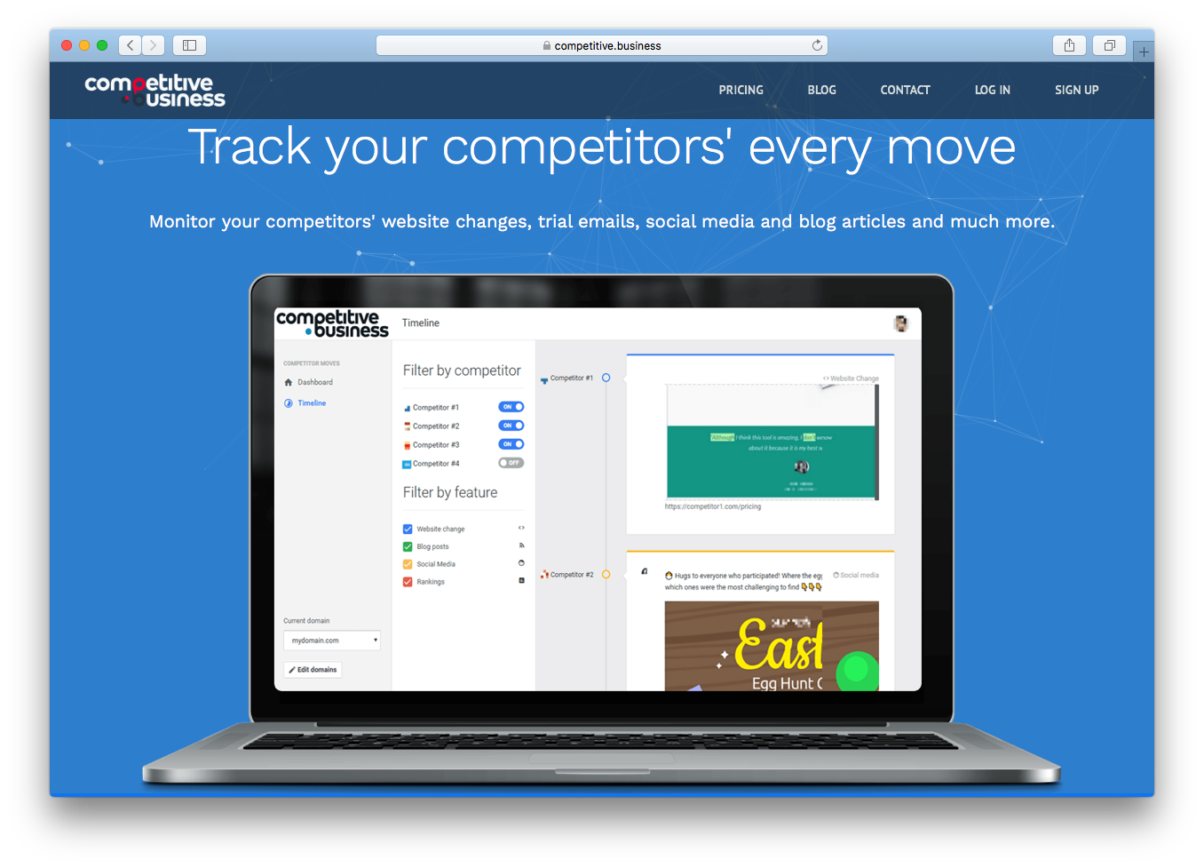 Competitive Business screenshot of homepage track competitors