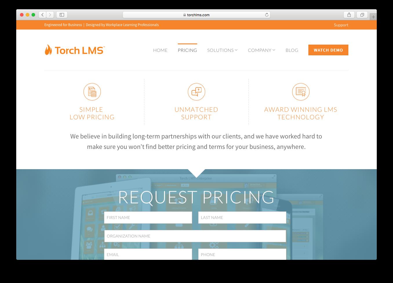 Torch LMS pricing webpage screenshot