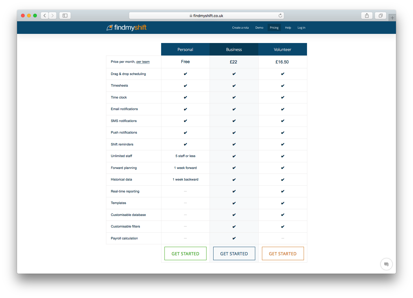 Findmyshift website screenshot personal business volunteer pricing plans