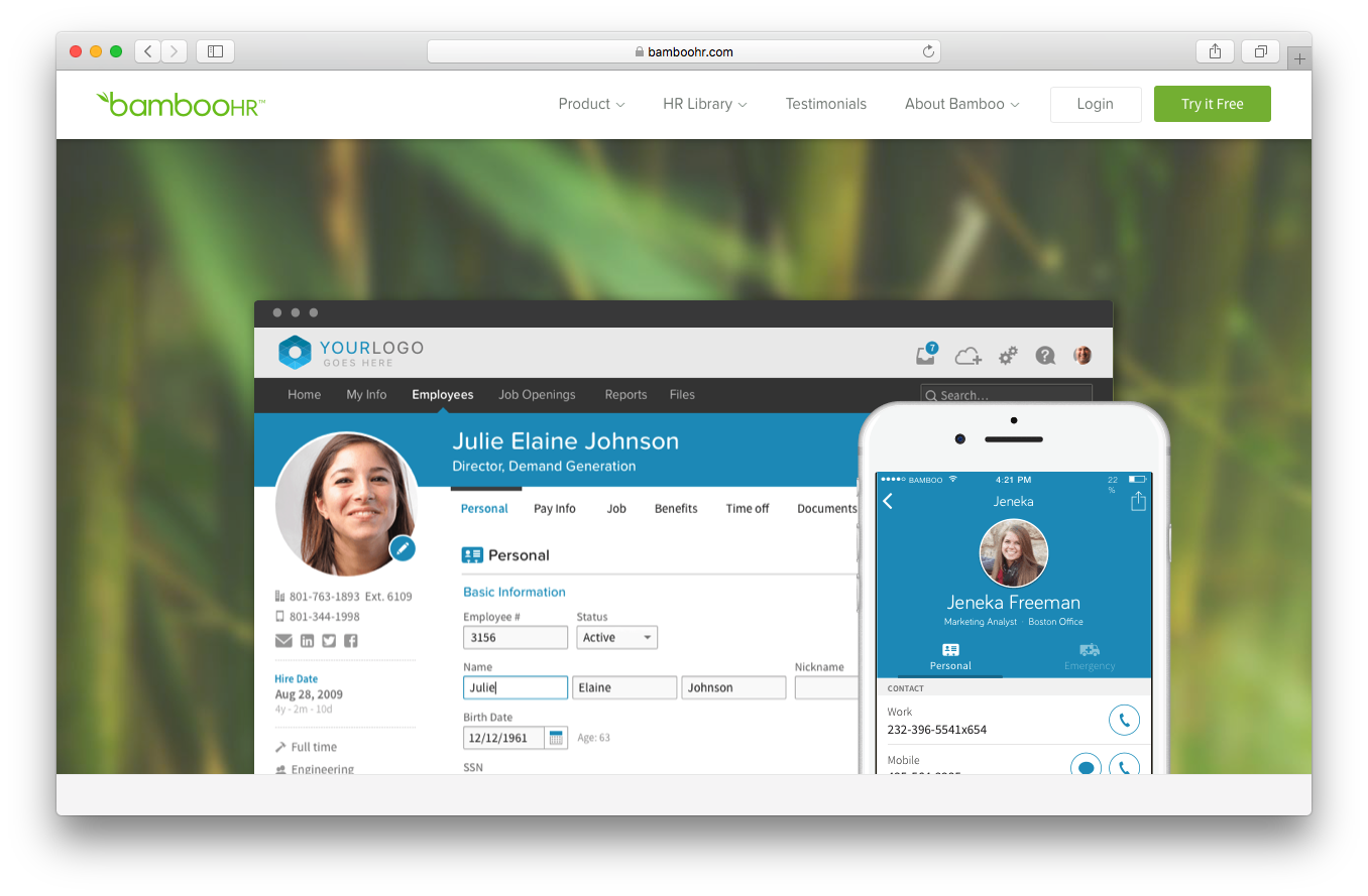 BambooHR product tour webpage screenshot