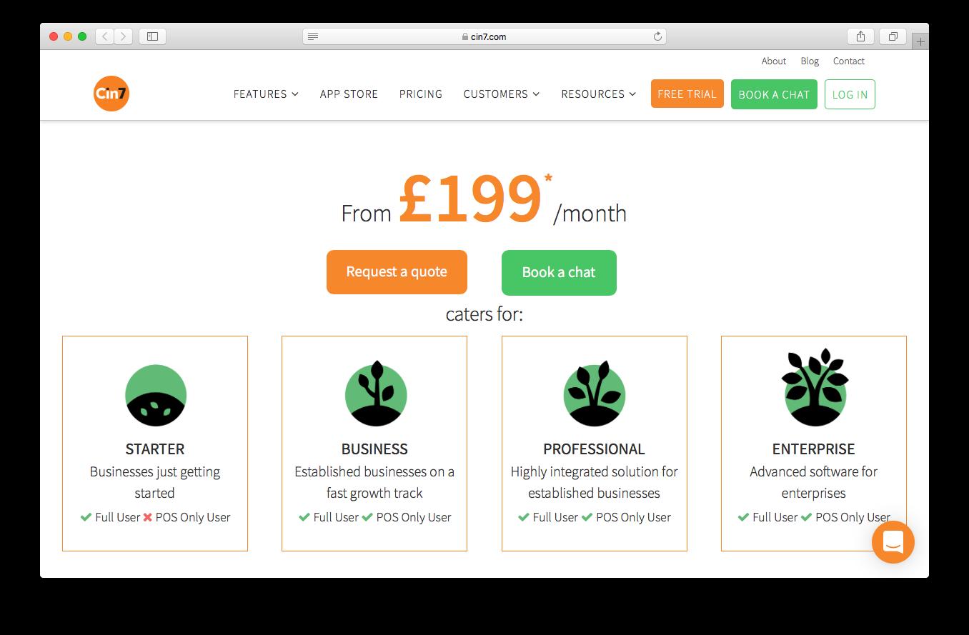 Cin7 Pricing screenshot of webpage starter professional business enterprise