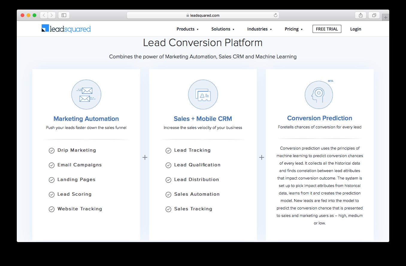 LeadSquared conversion prediction sales mobile crm lead conversion marketing automation webpage screenshot