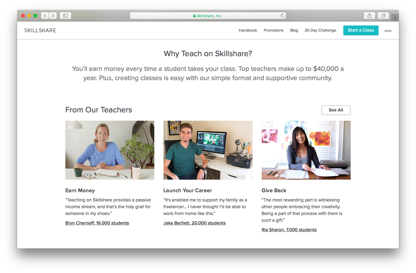 Skillshare become a teacher webpage screenshot earn money launch career give back