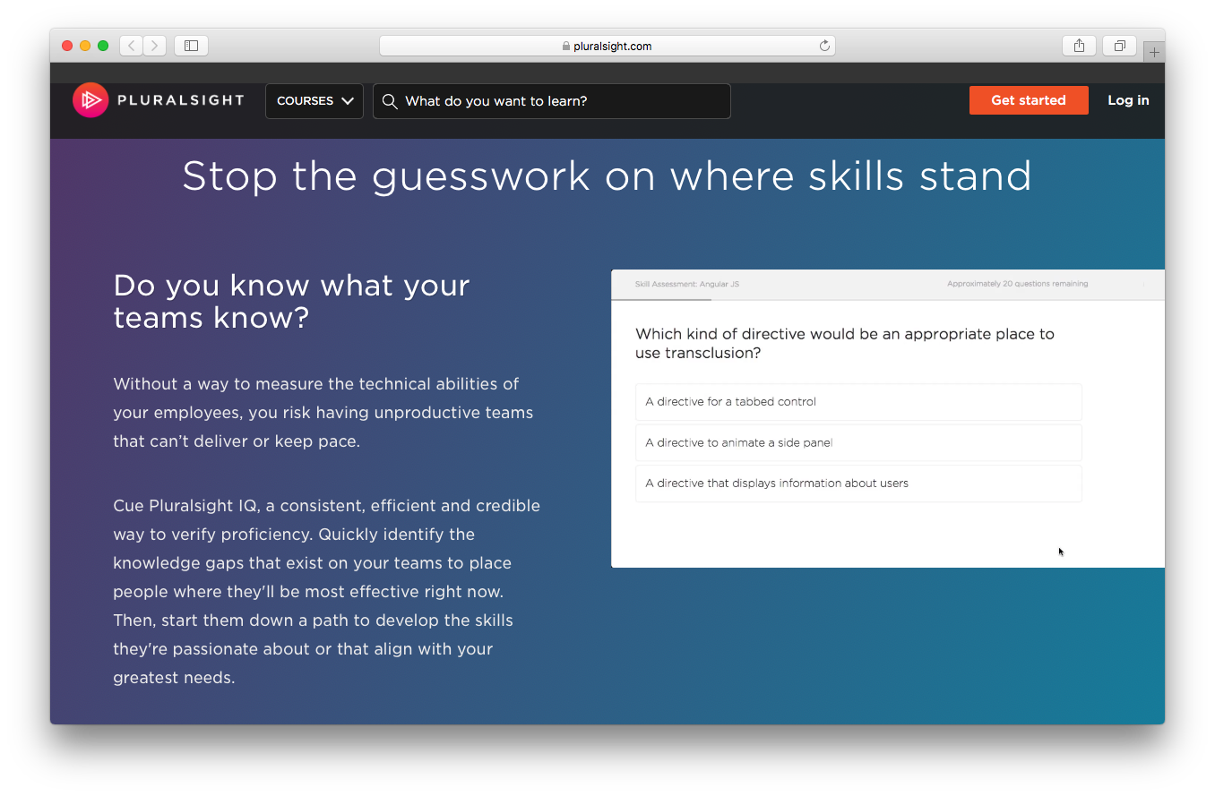 Pluralsight homepage screenshot team skills technical ability emlployee