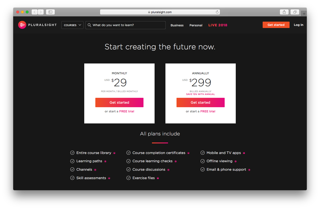 Pluralsight pricing webpage screenshot business professional monthly annually