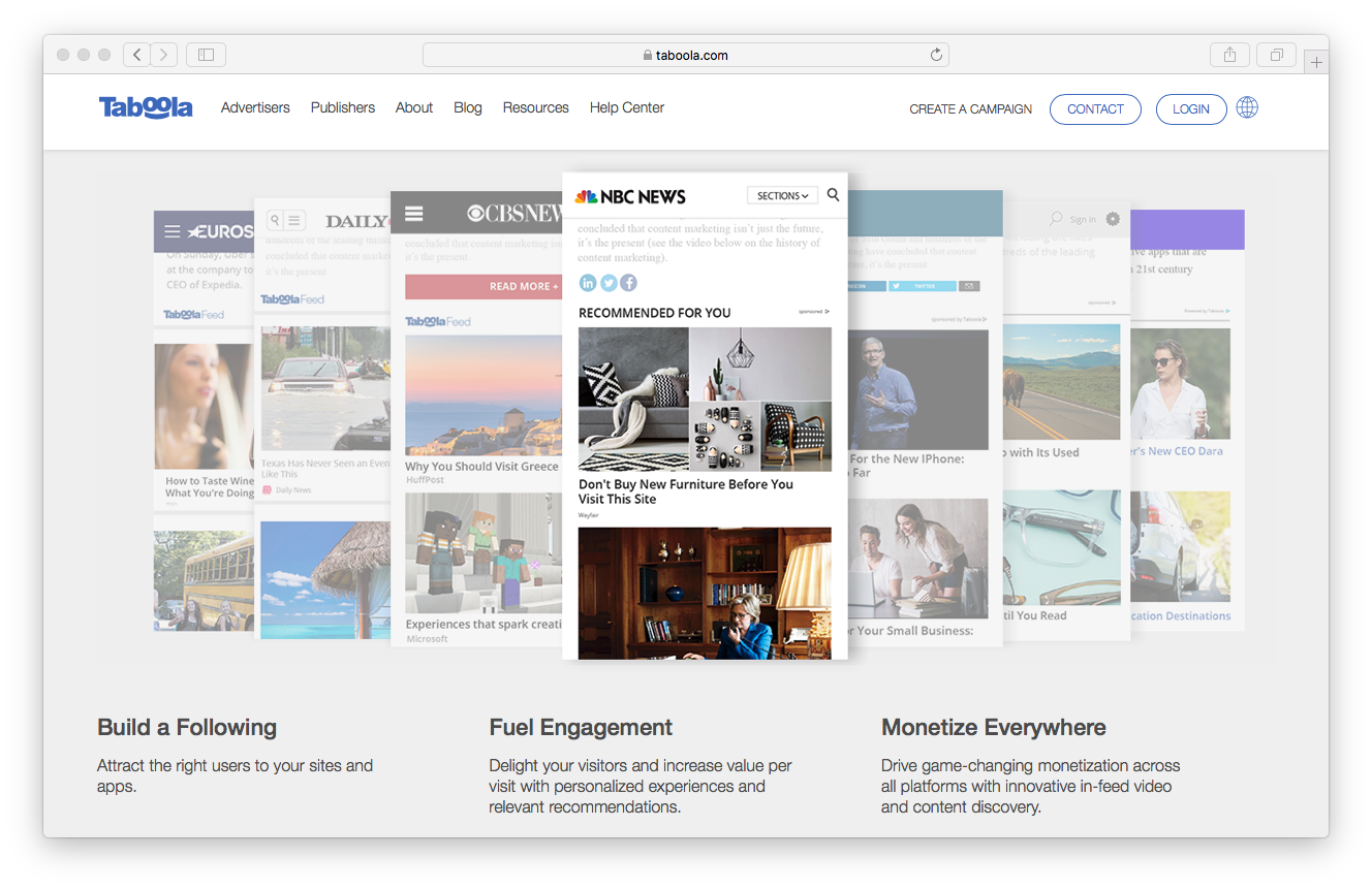 Taboola homepage screenshot publishers engaged audience grow revenue following monetise