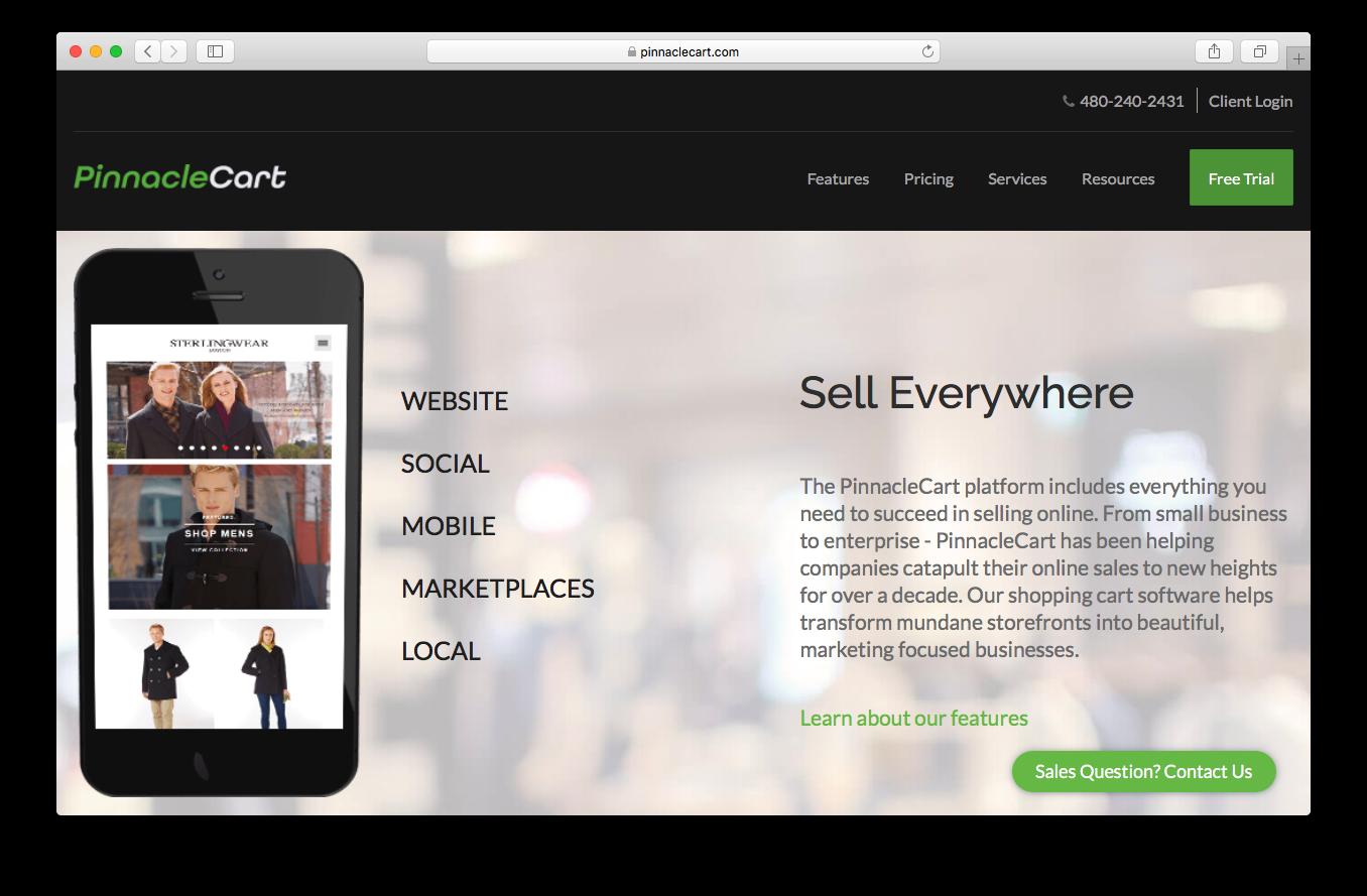 PinnacleCart homepage screenshot website social mobile marketplaces local sell everywhere