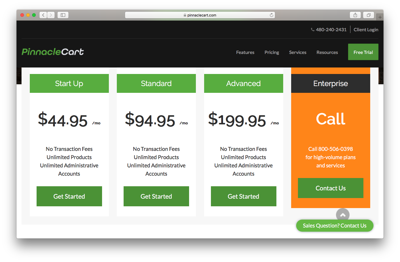 PinnacleCart pricing webpage screenshot start up standard advanced enterprise