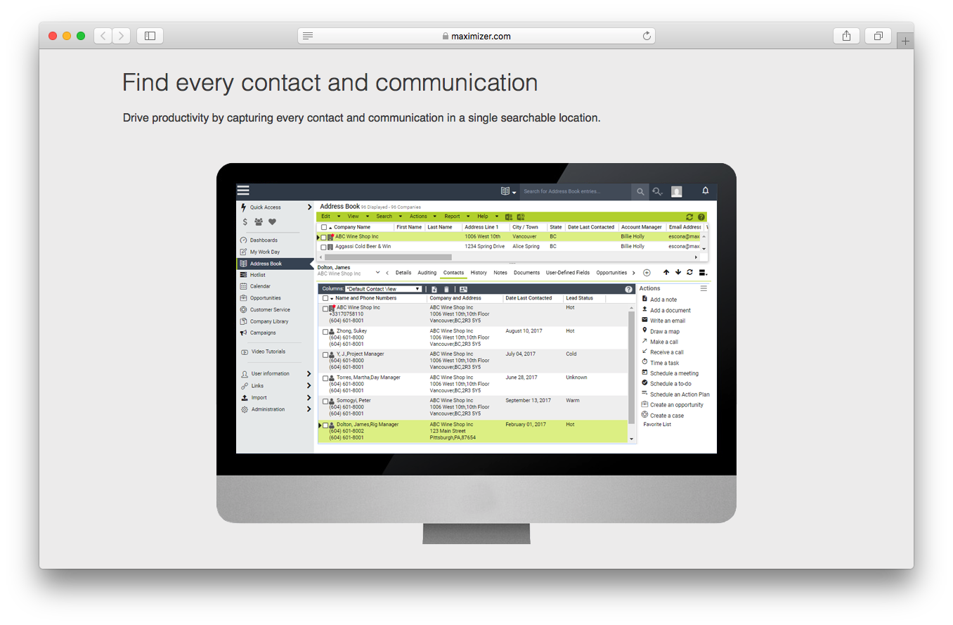 Maximizer CRM contact management feaures webpage screenshot find communication productivity search