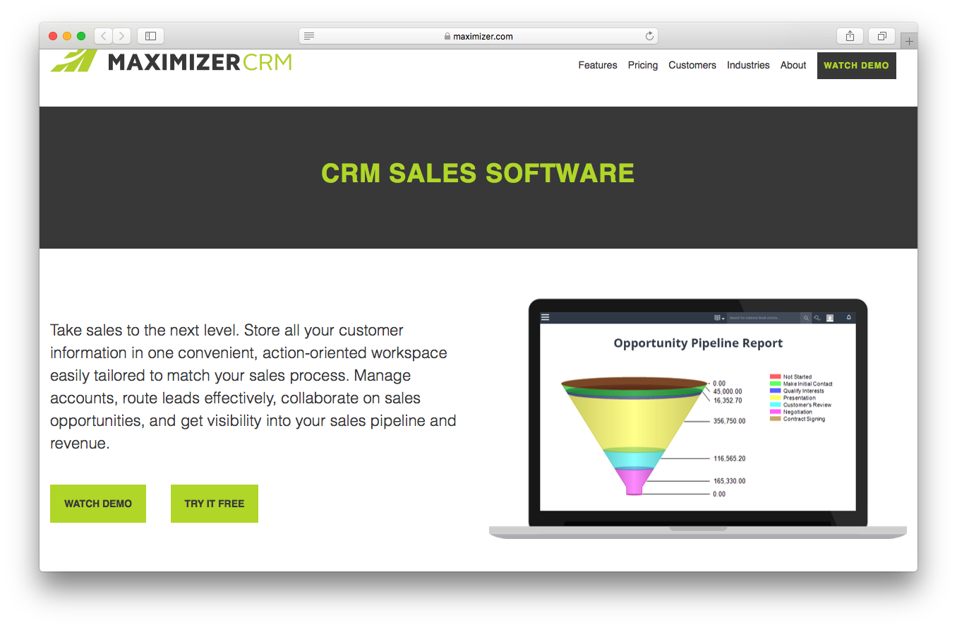 Maximizer CRM sales features webpage screenshot customer information workspace manage accounts route leads collaborate opportunities sales pipeline revenue
