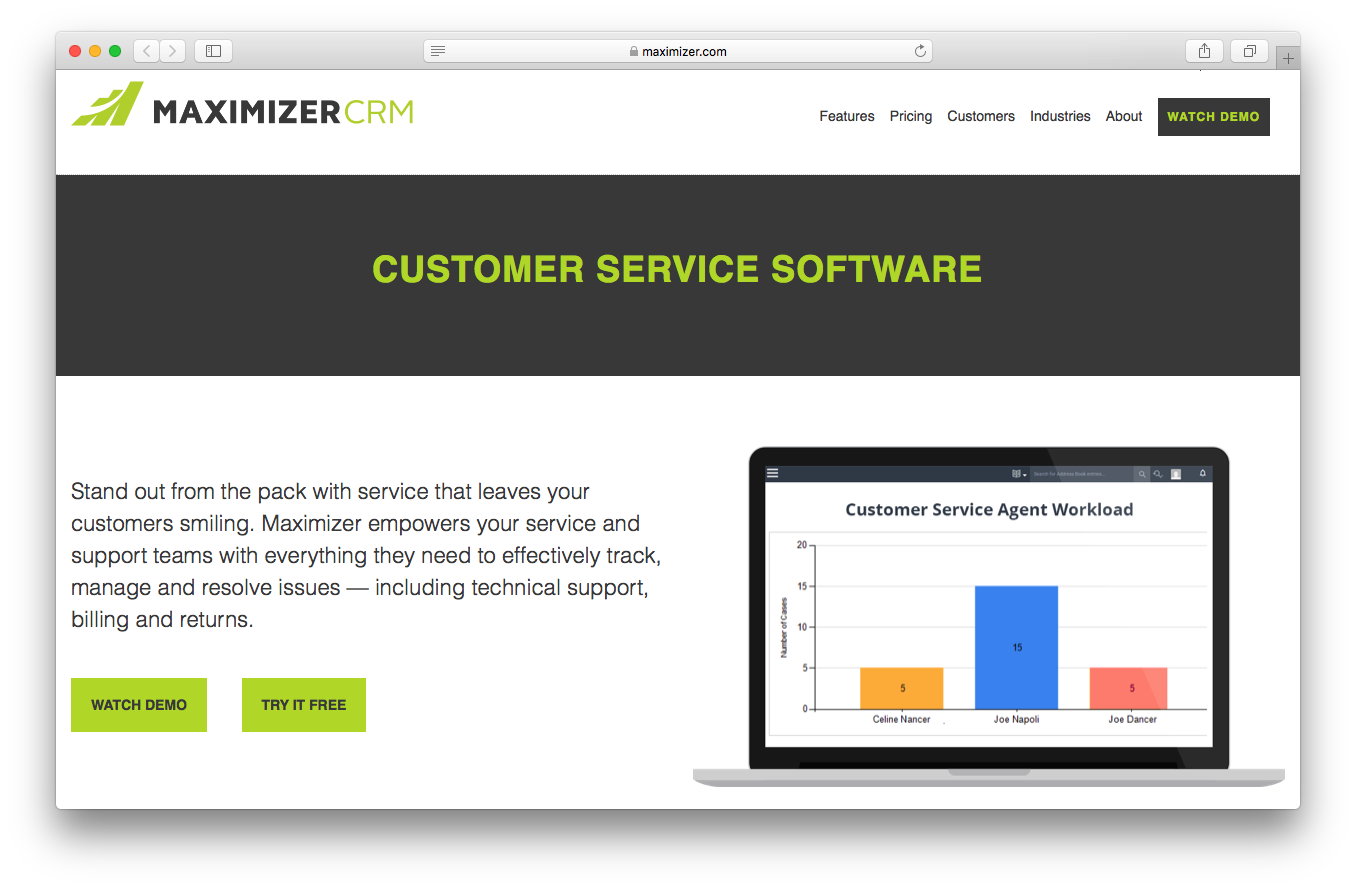 Maximizer CRM customer service software features webpage screenshot service support team track manage resolve issues technical support billing returns agent workload