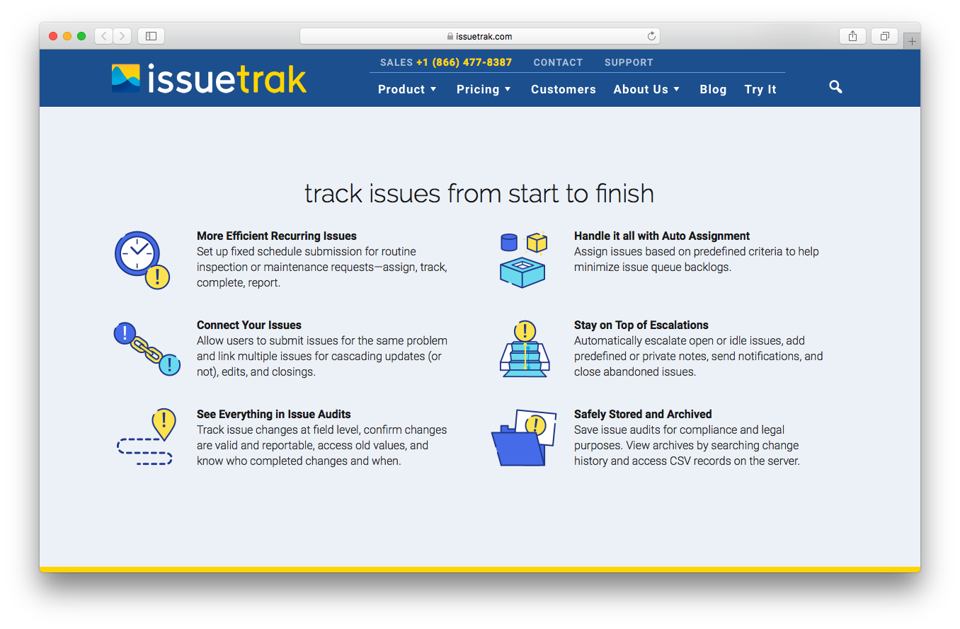 IssueTrak issue tracking products webpage screenshot efficient recurring connect audit safely store and archive auto assignment