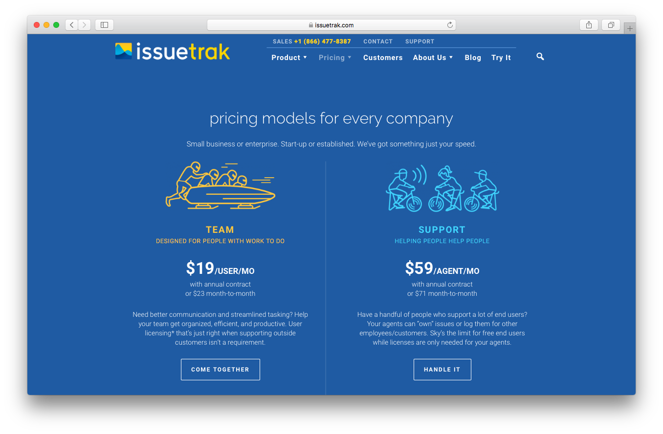 IssueTrak pricing webpage screenshot small business or enterprise team support