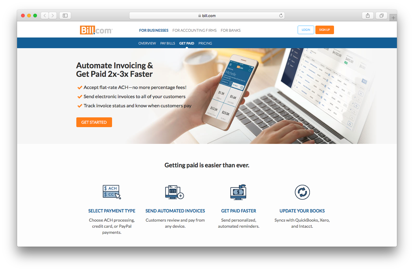 Bill.com products account receivable webpage screenshot get paid automate invoicing select payment type send automated update books