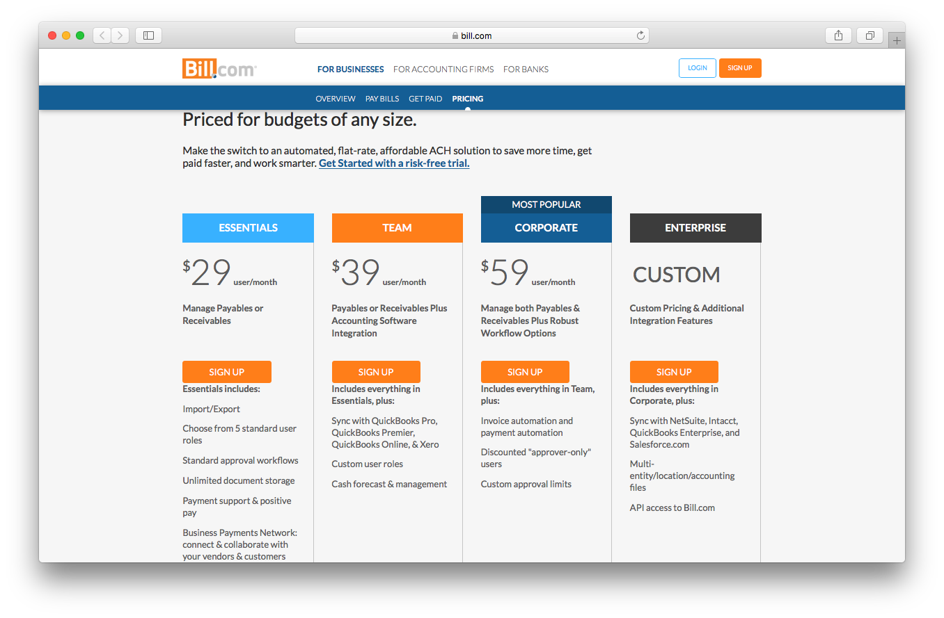 Bill.com pricing webpage screenshot essentials team corporate enterprise automated flat rate affordable ACH solution save time paid faster work smarter