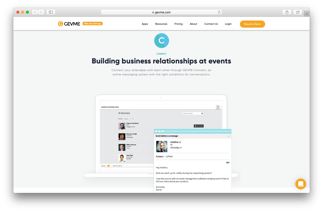 GEVME connect webpage screenshot building business relationships events