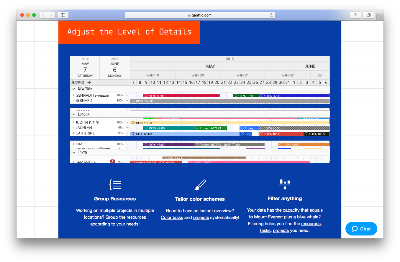 Ganttic tour webpage screenshot adjust level of details group resources tailor color schemes filter anything